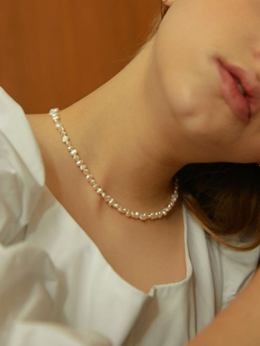 middle pearls necklace [silver 925]